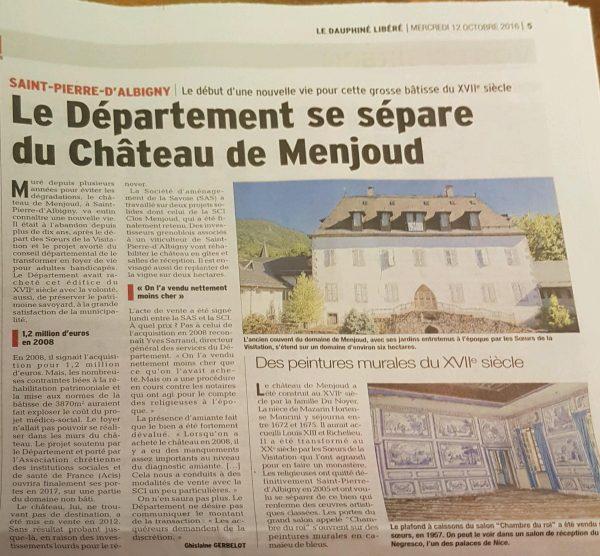 Expertise de la valeur vénale du Chateau de Menjoud à Saint Pierre d'Albigny
